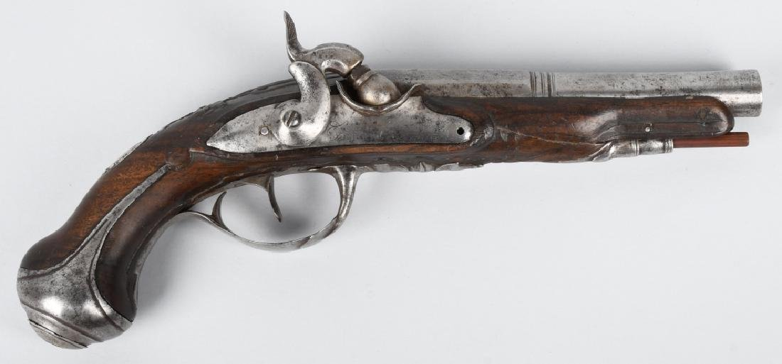 18th CENTURY CONVERTED FLINTLOCK .50 PISTOL