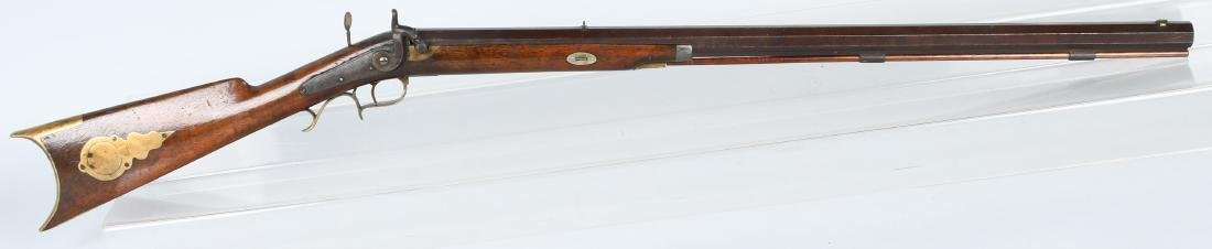 E. DEWEY, 1850's PERCUSSION .34 HALF STOCK RIFLE