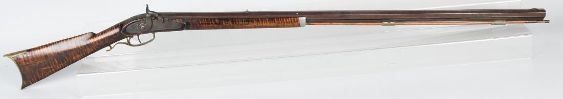 1850's PERCUSSION .41 TIGER MAPLE HALF STOCK RIFLE