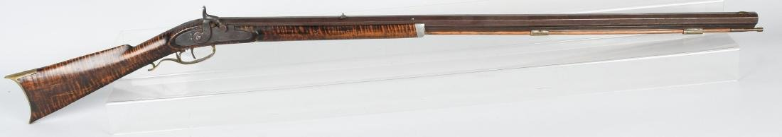 1850's PERCUSSION .41 TIGER MAPLE HALF STOCK RIFLE