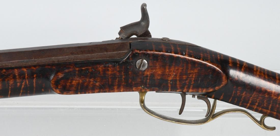 1850's PERCUSSION .41 TIGER MAPLE HALF STOCK RIFLE - 7