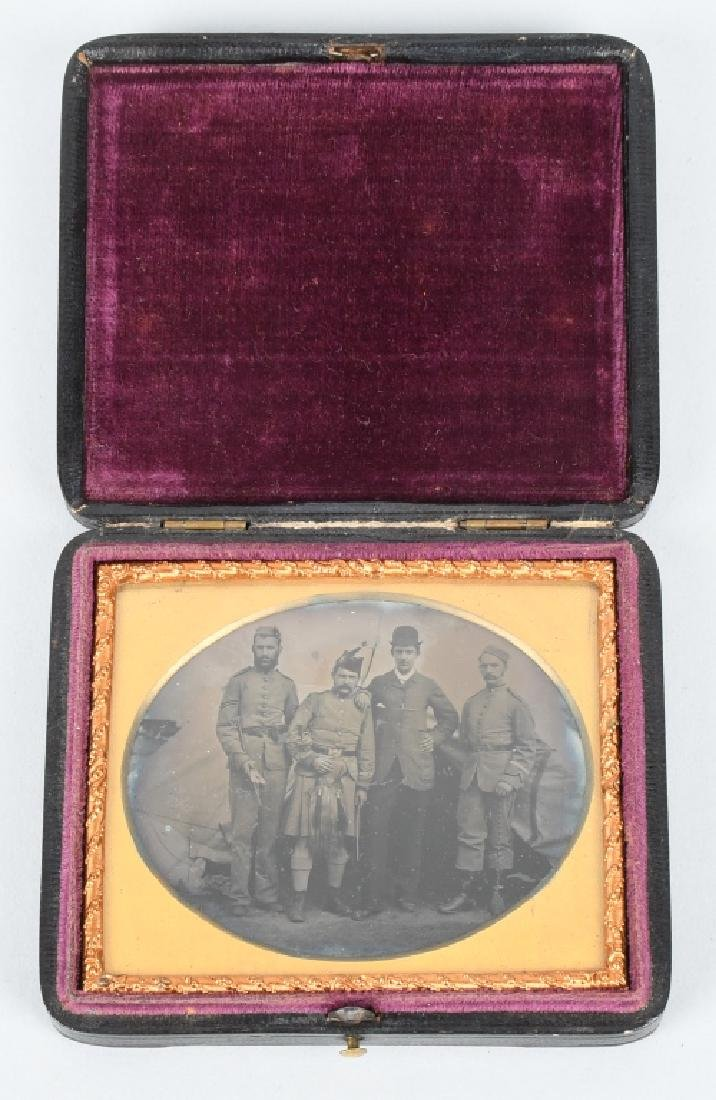 19TH CENT 1/6TH AMBROTYPE OUTDOORS HIGHLANDERS