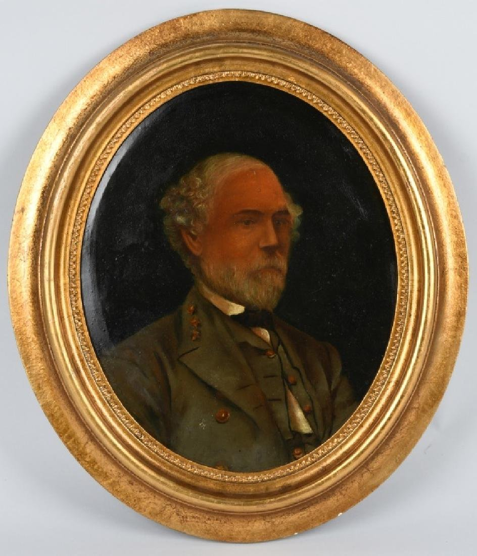 CIVIL WAR OIL PAINTING - ROBERT E. LEE CONFEDERATE