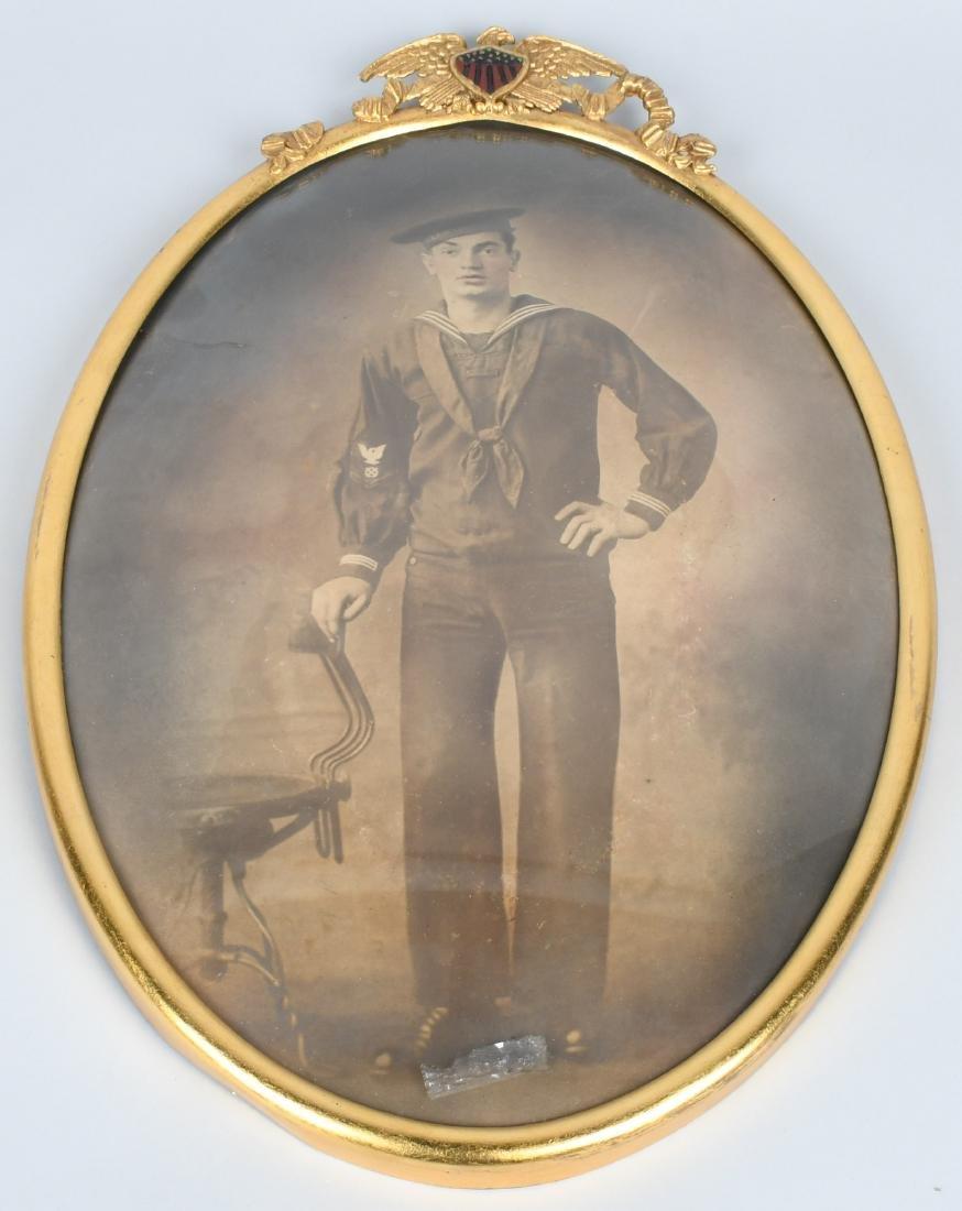 WWI U.S. NAVY FRAMED PHOTO SAILOR - U.S.S. AMPHION