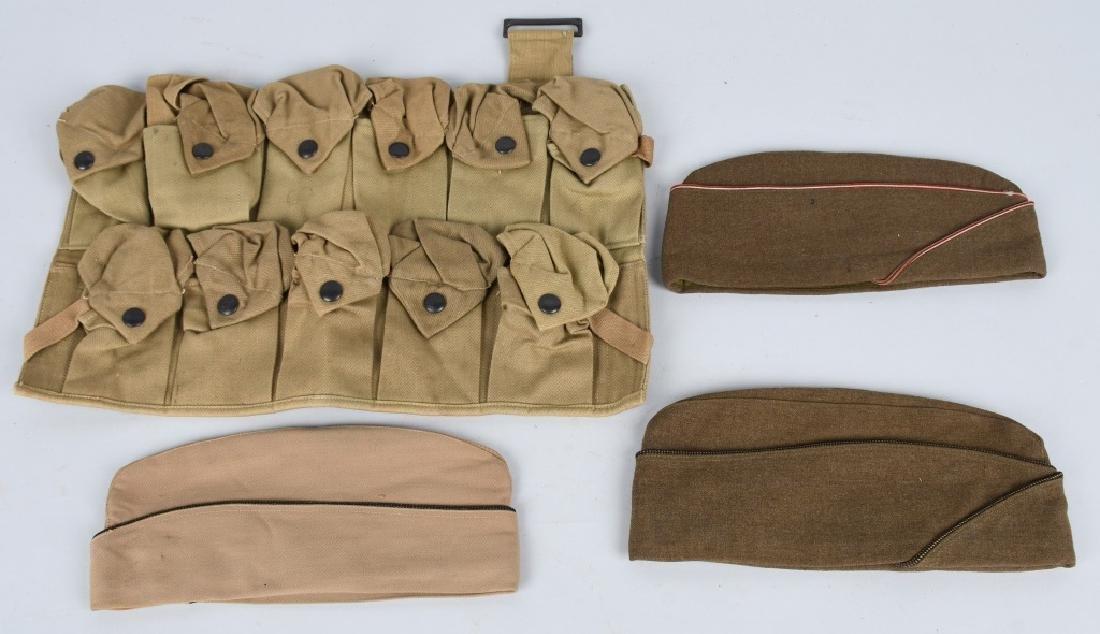 WWI HAND GRENADE BAG 3 WWII OVERSEAS CAPS