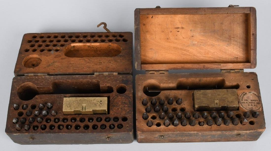 2- US WWI CASED DOG TAG MANUFACTURING KIT