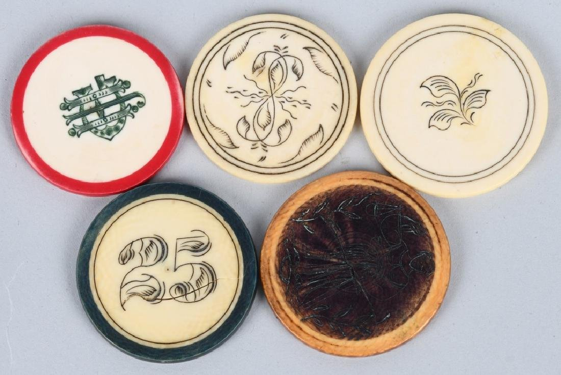 5- SCRIMSHAWED BONE COWBOY ERA POKER CHIPS