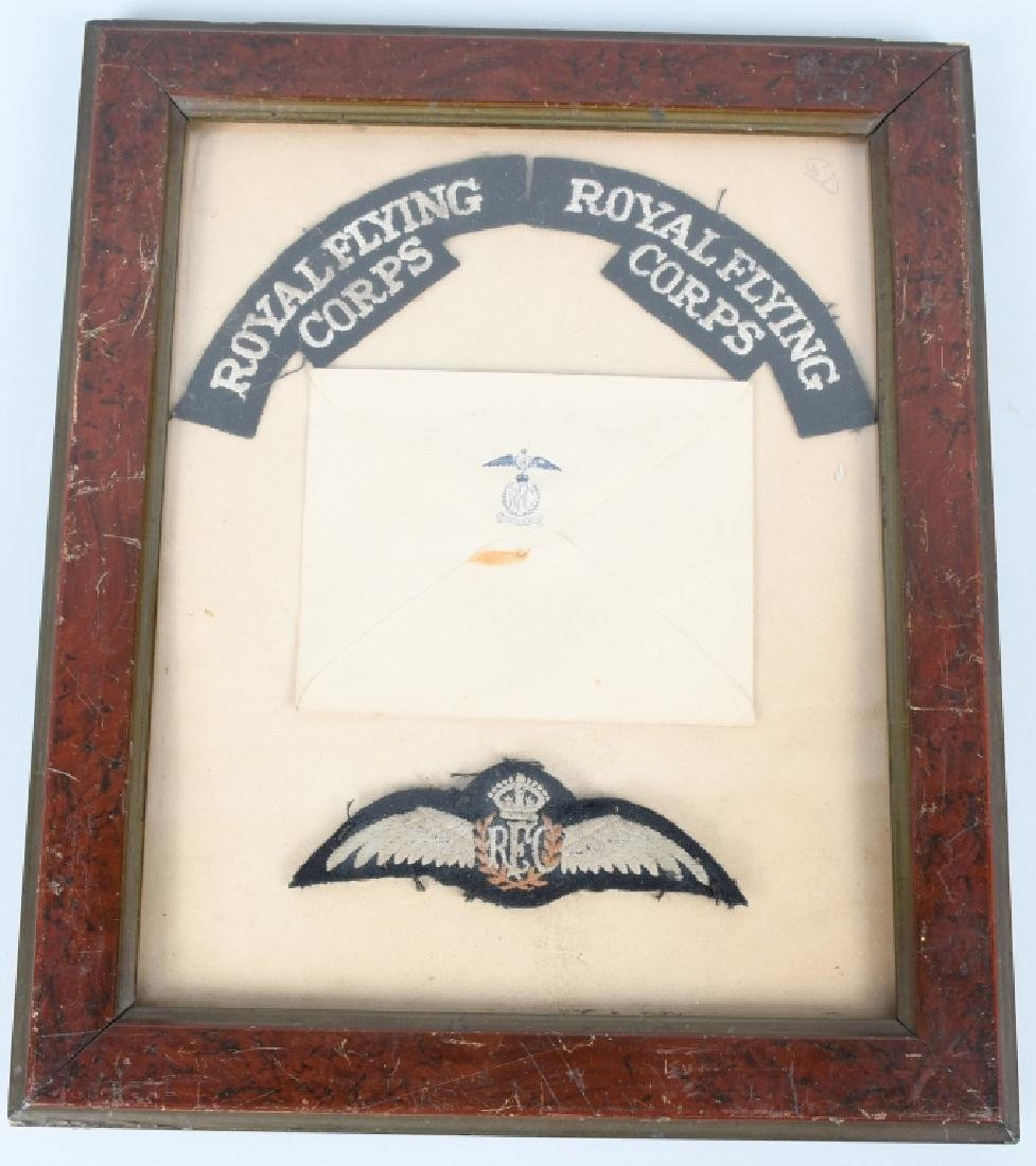 WWI BRITISH ROYAL FLYING CORPS INSIGNIA & ENVELOPE