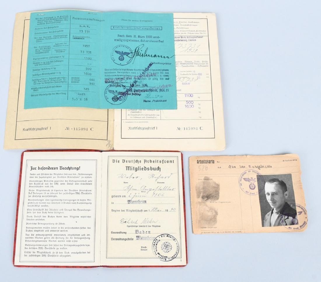 WWII NAZI GERMAN DAF SOLDBUCH & AUTO DOCUMENTS