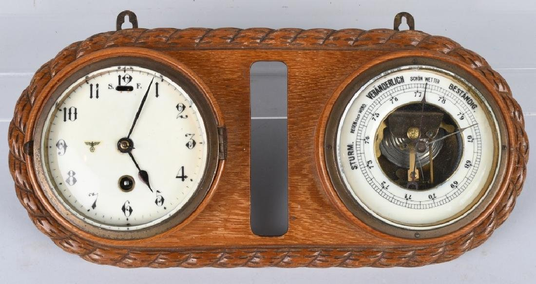 WWII NAZI GERMAN WALL CLOCK AND BAROMETER