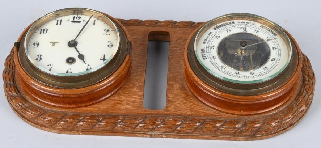 WWII NAZI GERMAN WALL CLOCK AND BAROMETER - 4