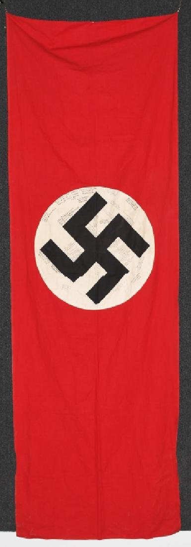 WWII NAZI GERMAN BANNER FLAG SIGNED BY US GIs