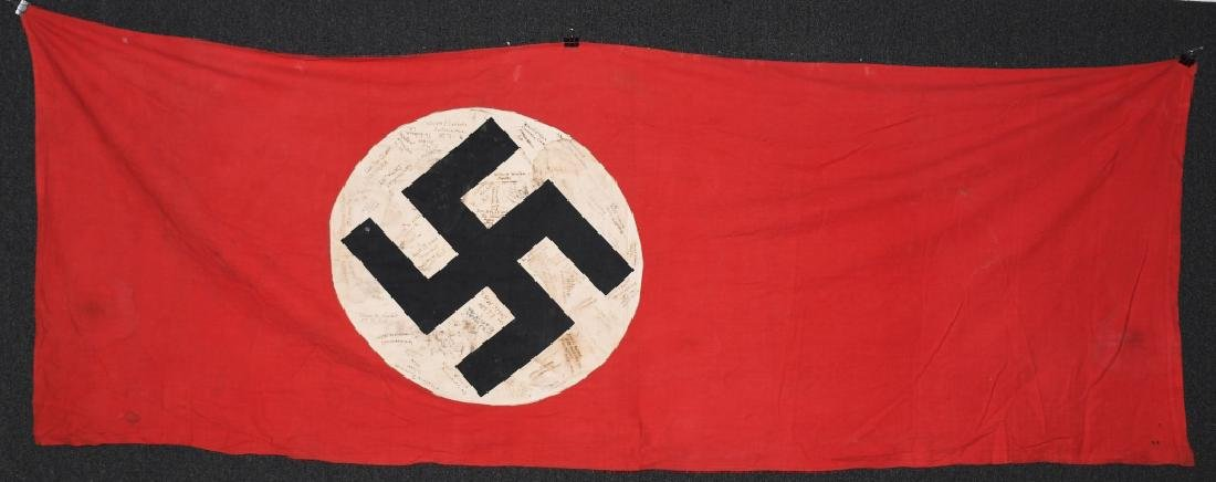 WWII NAZI GERMAN GI SIGNED DOUBLE SIDED BANNER
