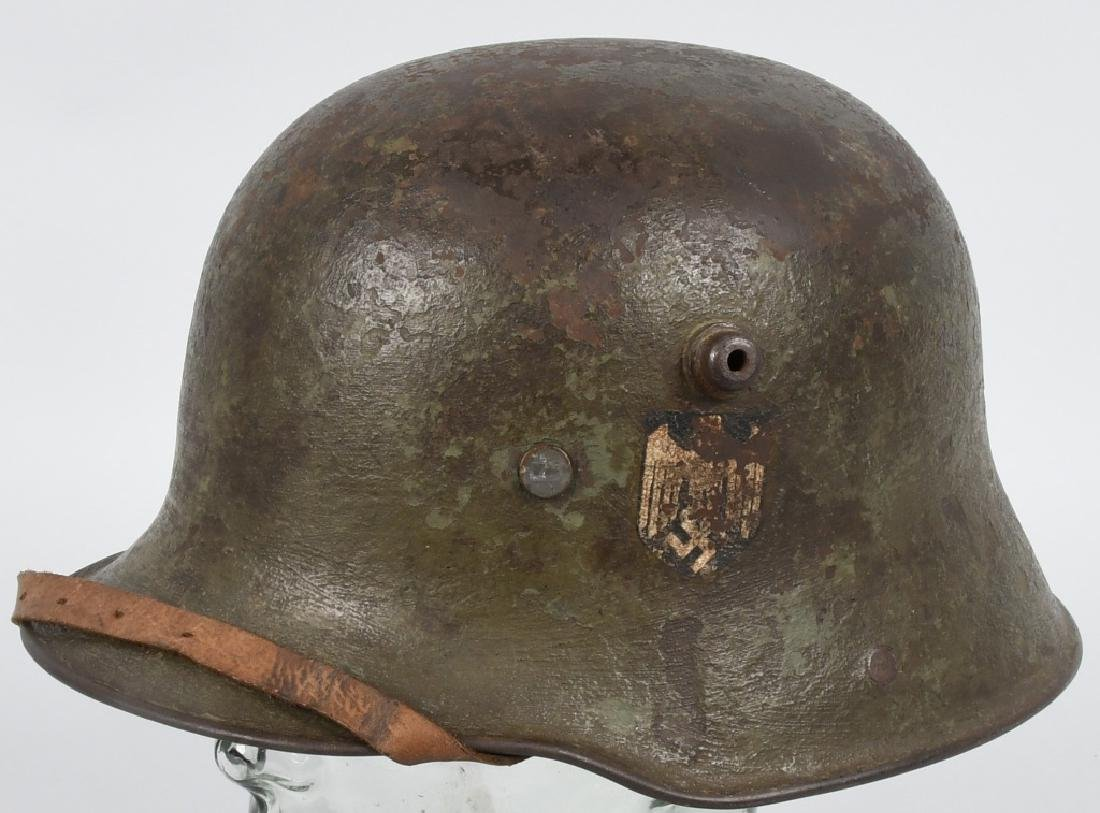 WWII NAZI GERMAN NAMED EARLY DOUBLE DECAL HELMET
