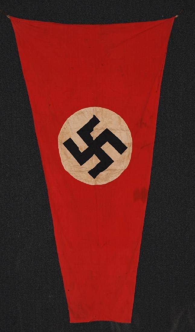 WWII NAZI GERMAN NSDAP TRIANGULAR BANNER FLAG