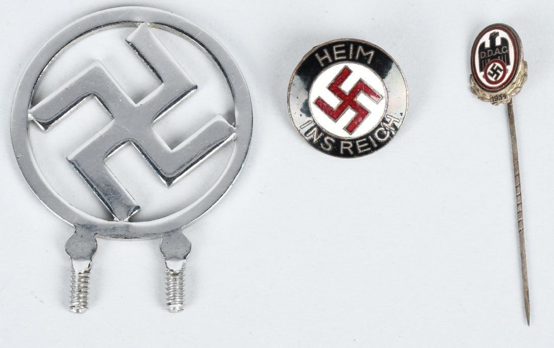WWII NAZI GERMAN RADIATOR BADGE & PIN LOT