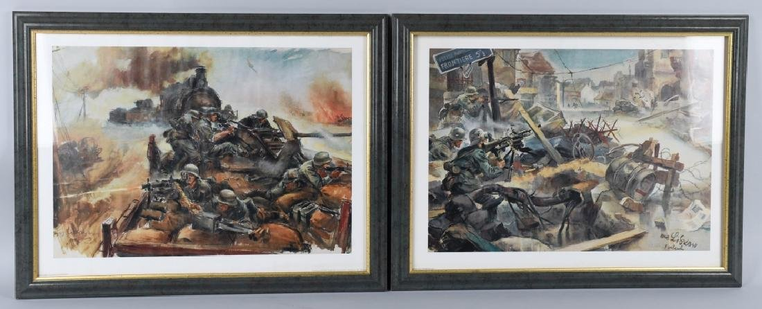WWII NAZI GERMAN SOLDIER COMBAT SCENE COLOR PRINTS