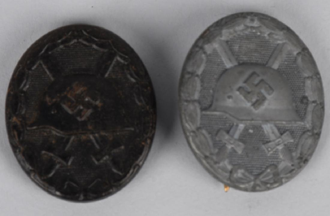 WWII NAZI GERMAN SILVER & BLACK WOUND BADGE LOT