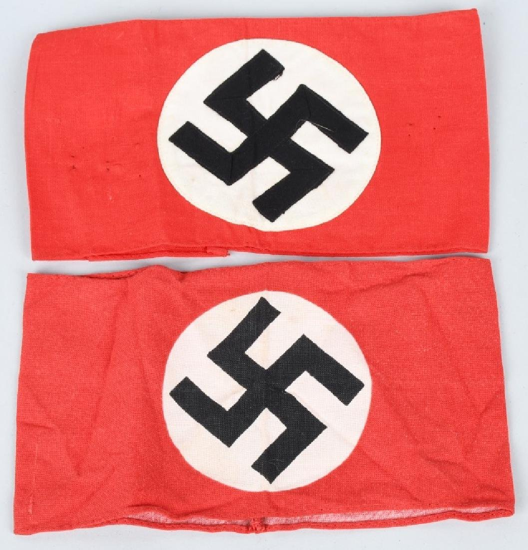 2- WWII NAZI NSDAP POLITICAL SWASTIKA ARM BANDS