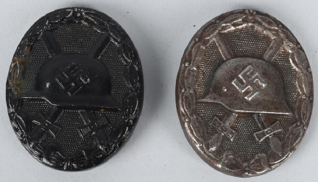 WWII NAZI GERMAN SLIVER & BLACK WOUND BADGES