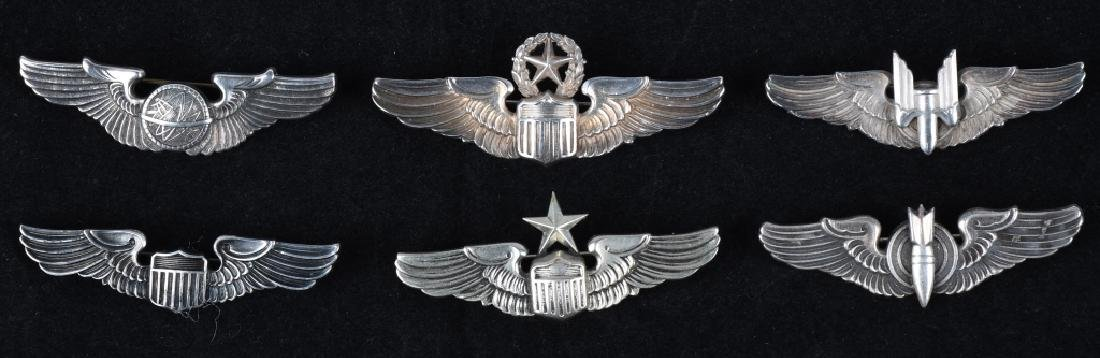 """WWII UNITED STATES ARMY AIR FORCE 2"""" WING LOT (6)"""