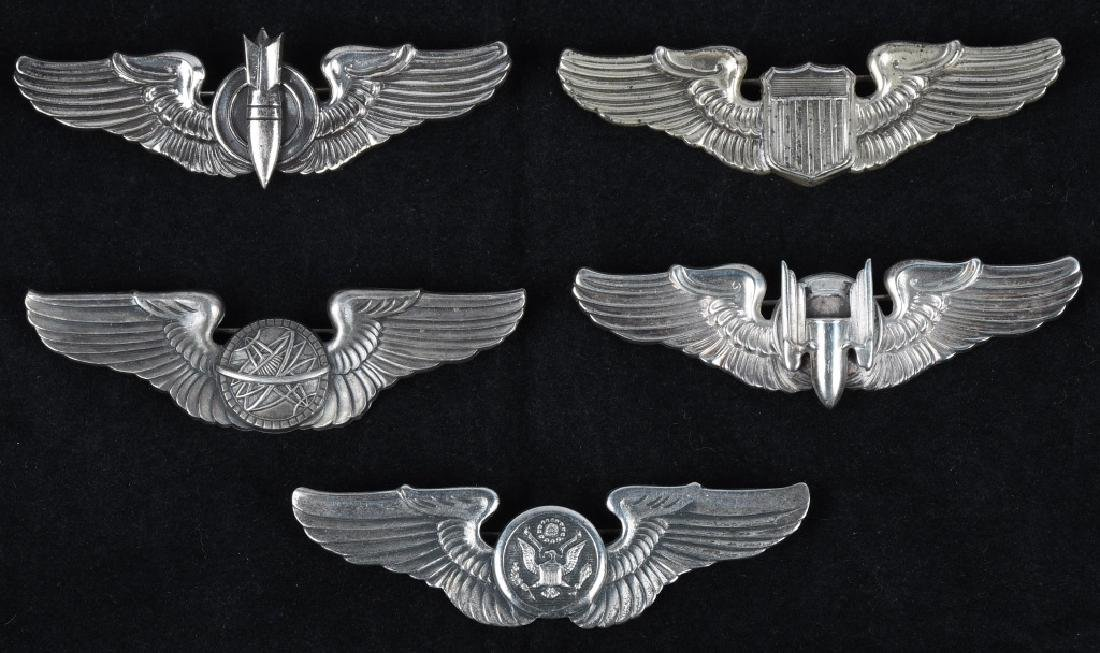 """WWII UNITED STATES ARMY AIR FORCE 3"""" WING LOT (5)"""