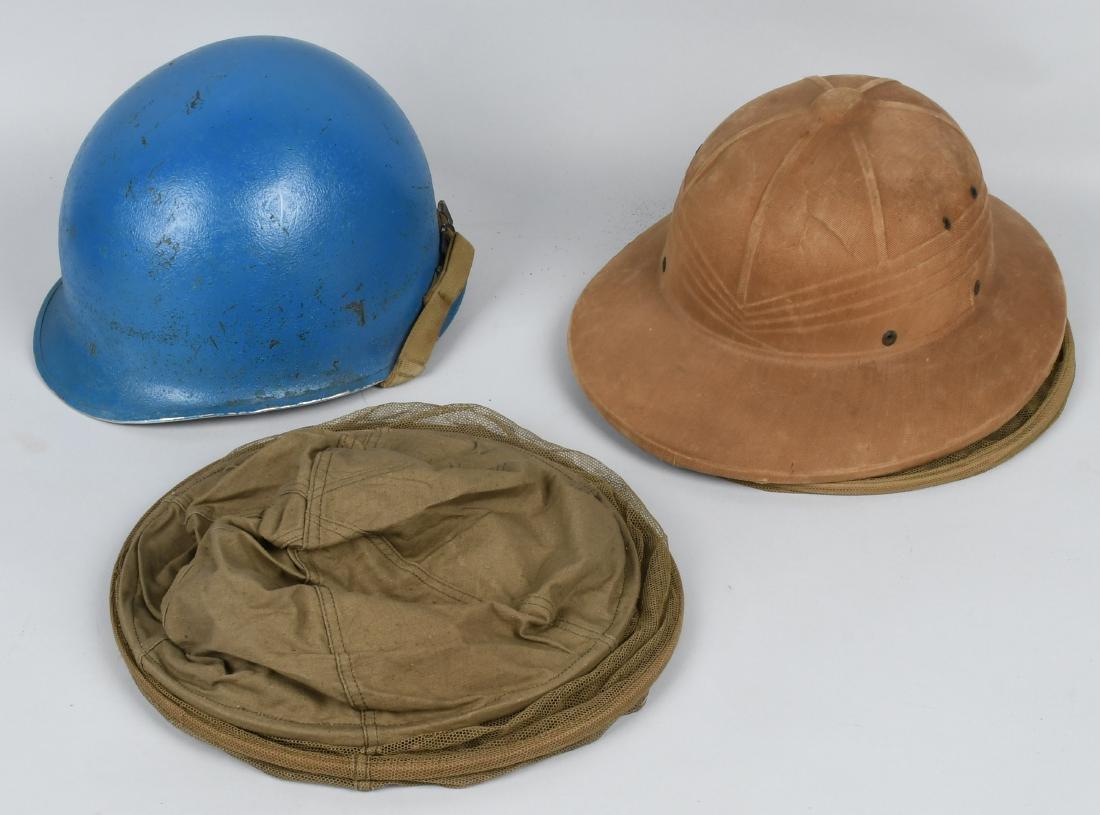 WWII U.S. HEADGEAR LOT INCL.FRONT SEAM FIXED BALE