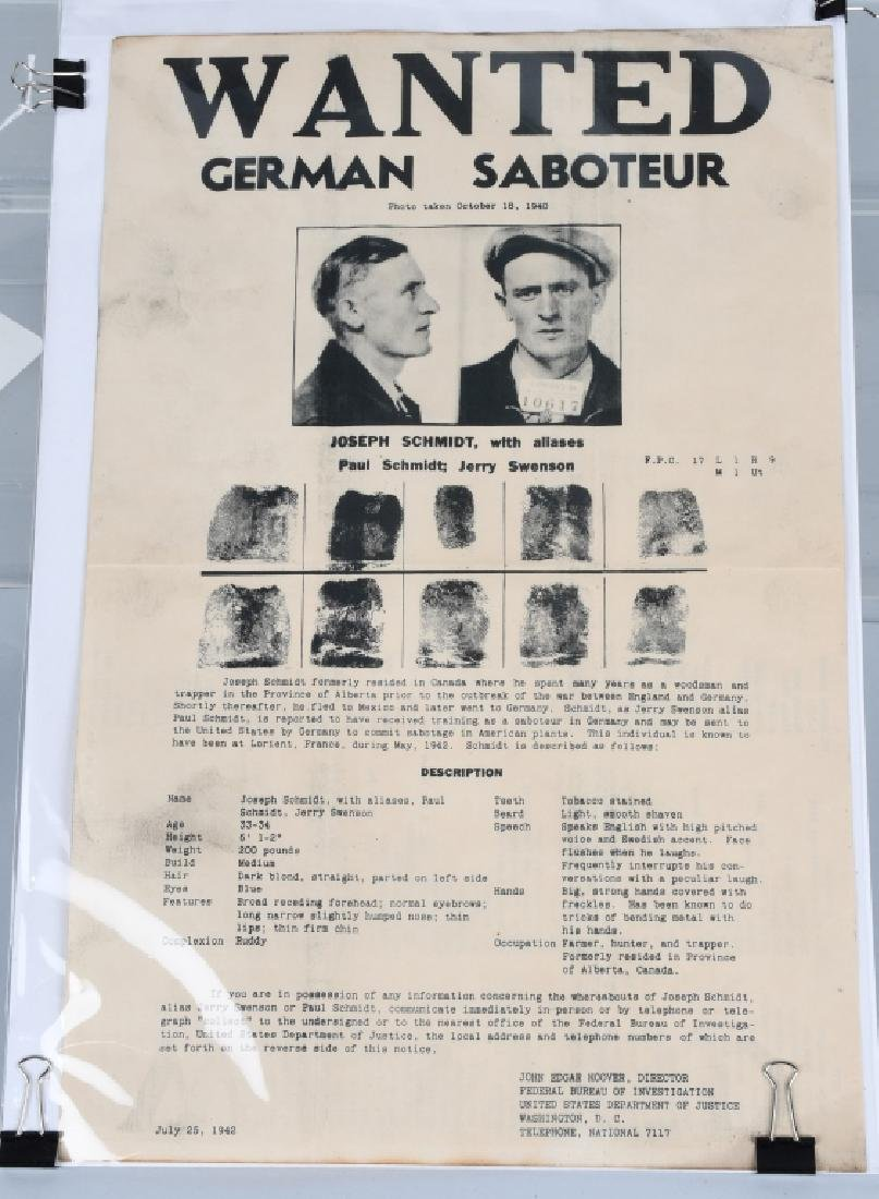 WWII FBI 1942 WANTED POSTER - GERMAN SABOTEUR