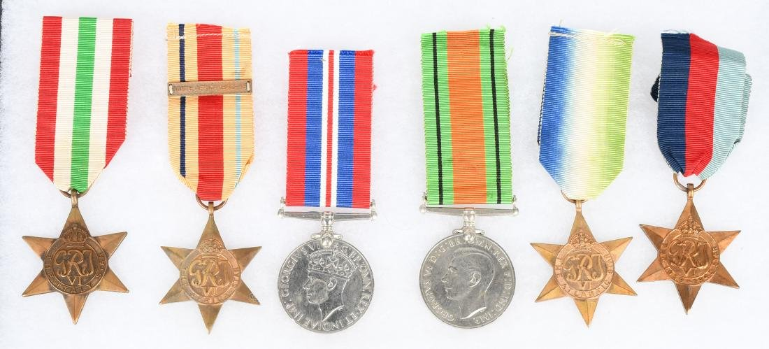 WWII BRITISH MEDAL GROUP - 6 MEDALS
