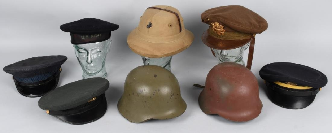 MILITARY HAT LOT INC. FOREIGN HATS & WWII U.S.