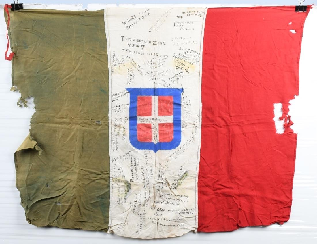 WWII CAPTURED ITALIAN FLAG SIGNED BY US SOLDIERS