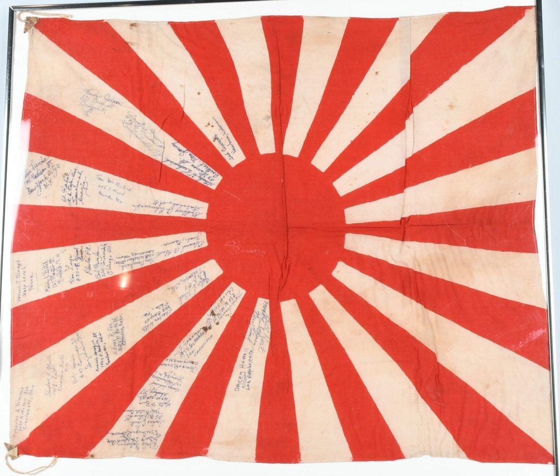 WWII JAPANESE FLAG SIGNED USMC MARINES IWO JIMA