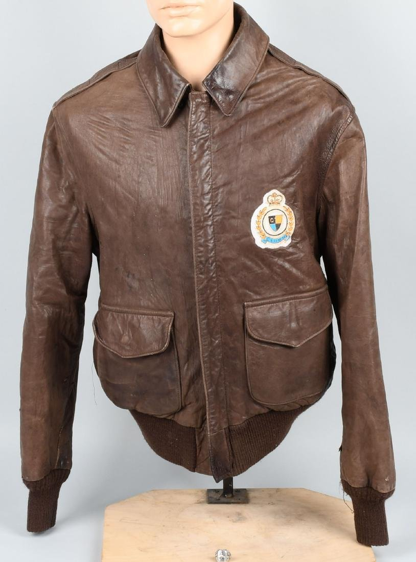 AVIREX A-2 LEATHER JACKET WITH ORIGINAL AAF RING