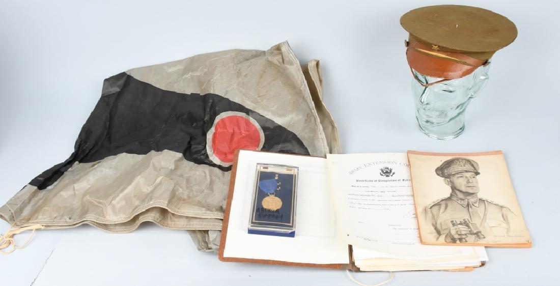 MILITARY LOT PRE-WWII - WWII EPHEMERA & VISOR CAP