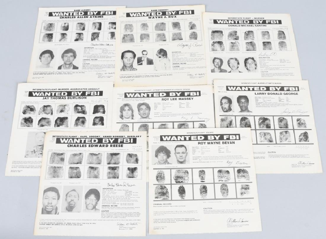 FBI POST OFFICE WANTED POSTERS (8) 1980S COA