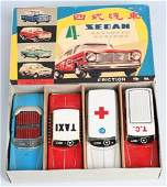 RED CHINA Tin Friction 4CAR SET w BOX