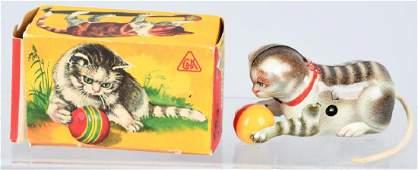 US ZONE GERMANY Tin Windup CAT WITH BALL w/ BOX