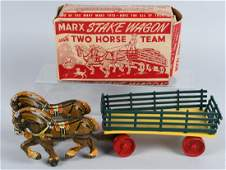 MARX STAKE WAGON w/ TWO HORSE TEAM, BOXED