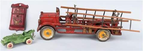HUBLEY CAST IRON FIRE ENGINE WRECKER  MORE