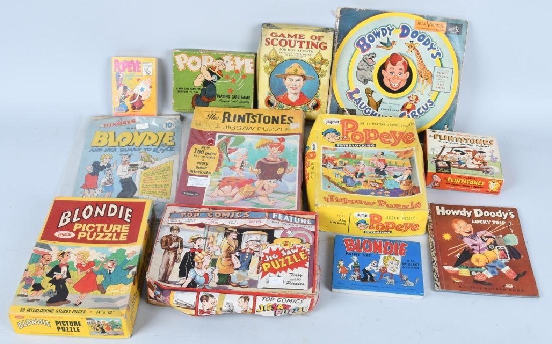COMIC CHARACTER VINTAGE LOT, POPEYE & MORE
