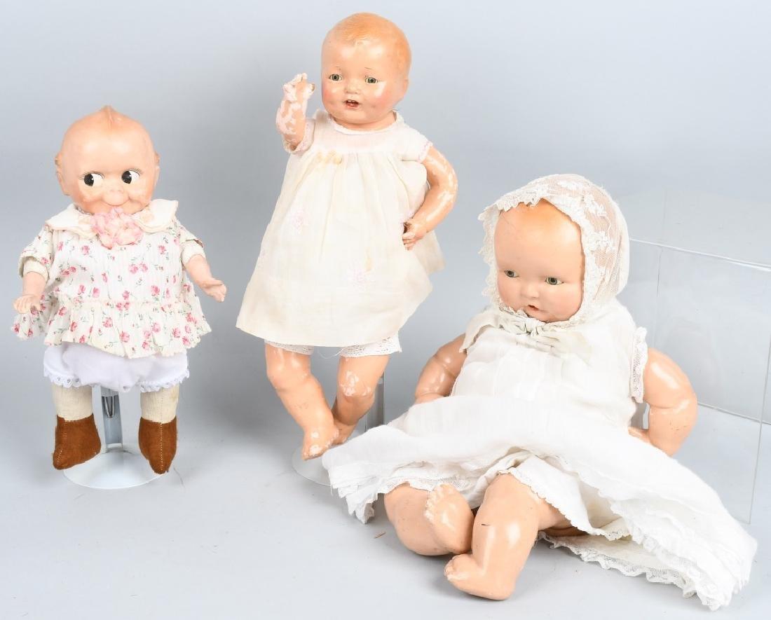 3-VINTAGE COMPOSITION DOLLS, BABY LAMBKIN & MORE