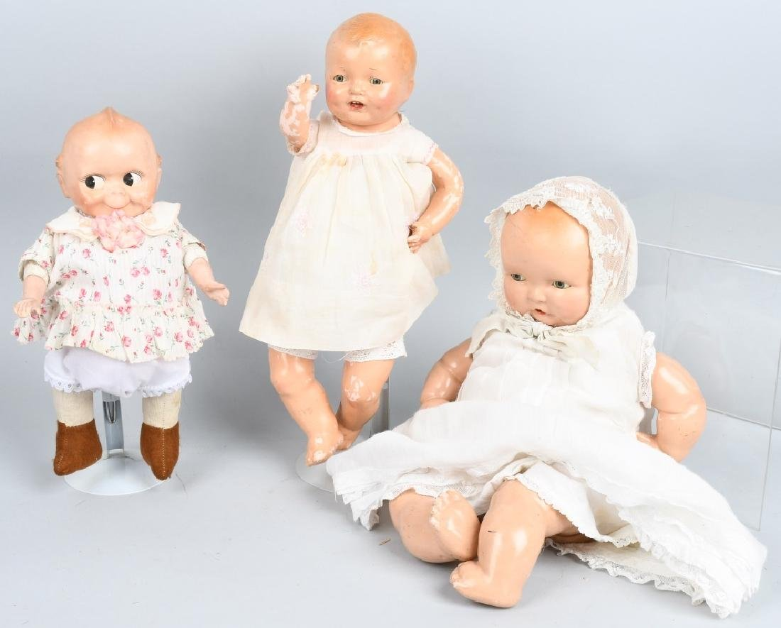 3-VINTAGE COMPOSITION DOLLS, BABY LAMBKIN & MORE