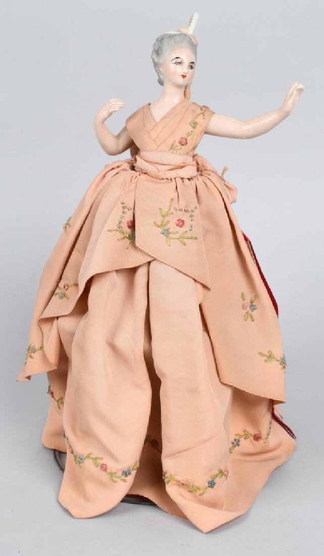 FRENCH CHINA HALF DOLL, ORIGINAL DRESS