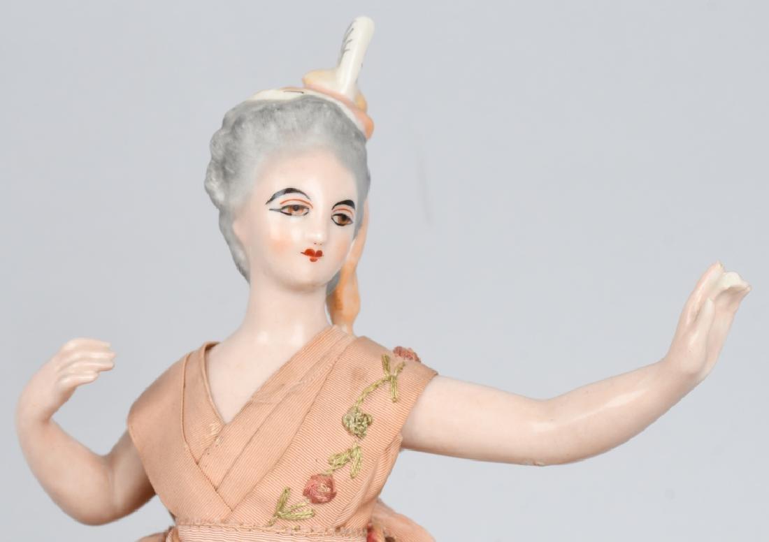 FRENCH CHINA HALF DOLL, ORIGINAL DRESS - 2