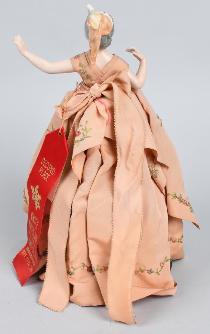 FRENCH CHINA HALF DOLL, ORIGINAL DRESS - 3
