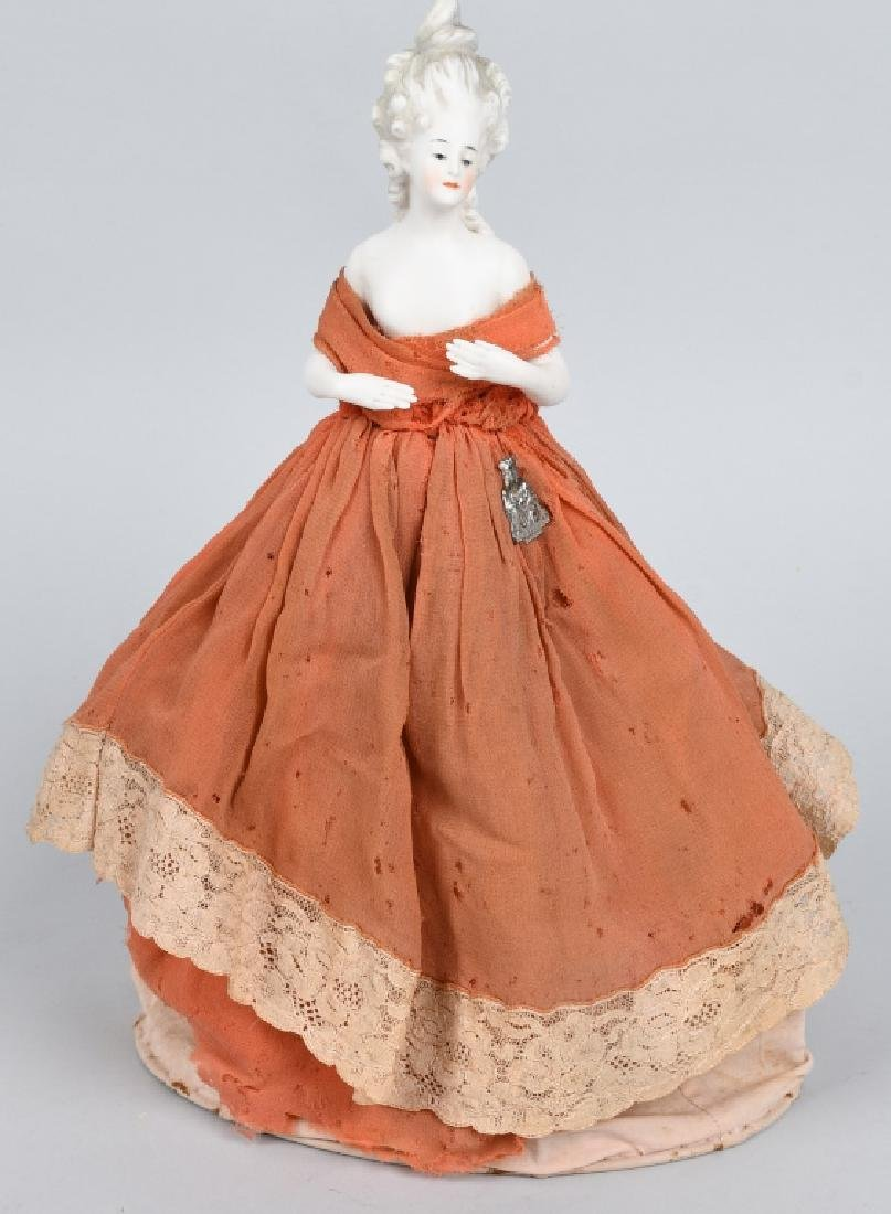 FRENCH BISQUE HALF DOLL, ORIGINAL DRESS