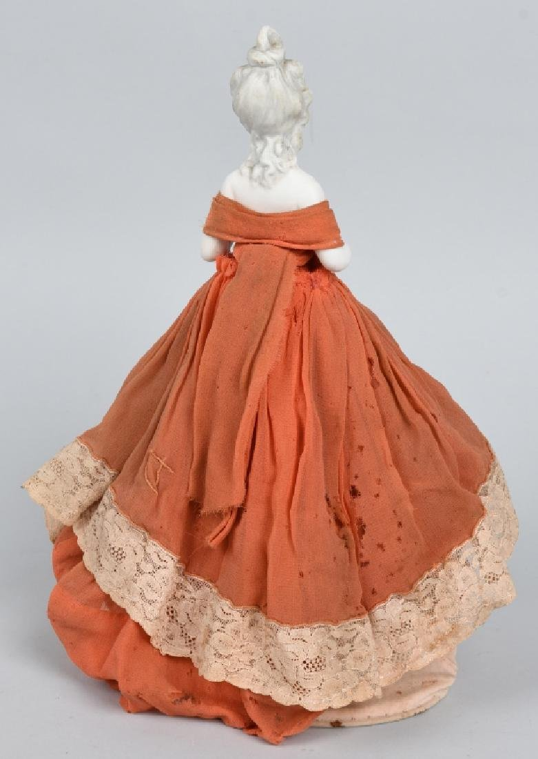 FRENCH BISQUE HALF DOLL, ORIGINAL DRESS - 4