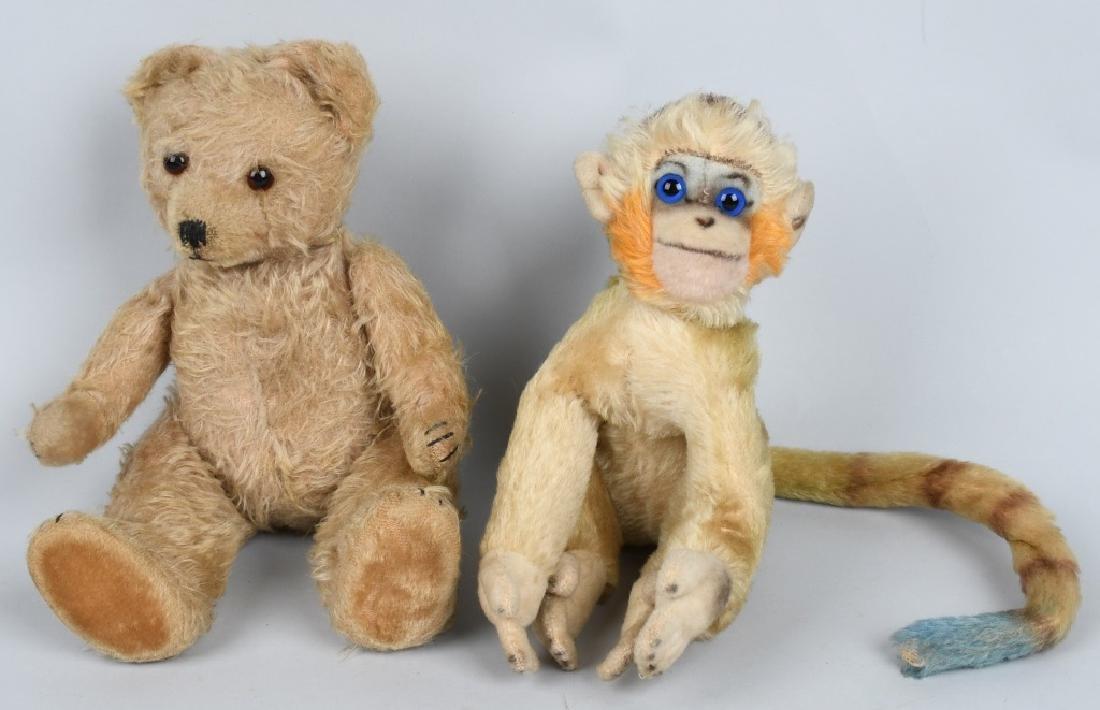VINTAGE JOINTED TEDDY BEAR & STEIFF MONKEY