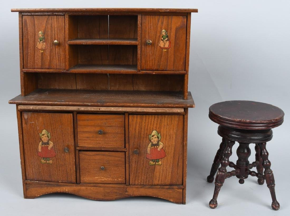 ANTIQUE DOLL CUPBOARD and PIANO STOOL