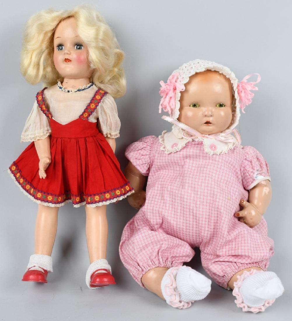 2-VINTAGE DOLLS, IDEAL TONI & BABY LAMPKIN